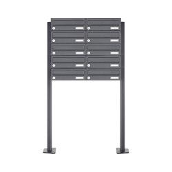 Basic | 10er Edelstahl Briefkastenanlage freistehend Design BASIC Plus 385XP ST-T - RAL nach Wahl | Mailboxes | Briefkasten Manufaktur
