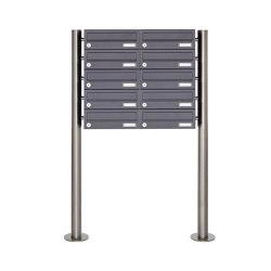 Basic | 10er Edelstahl Standbriefkasten Design BASIC Plus 385 X ST R - RAL nach Wahl | Mailboxes | Briefkasten Manufaktur