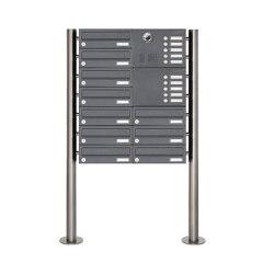 Basic | 10er Edelstahl Standbriefkasten Design BASIC Plus 385KX ST-R mit Klingel & Sprech-Kameravorbereitung Rechts | Mailboxes | Briefkasten Manufaktur