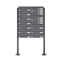 Basic | 10er Edelstahl Standbriefkasten Design BASIC Plus 385XP ST-T mit Klingelkasten - RAL nach Wahl Rechts | Mailboxes | Briefkasten Manufaktur