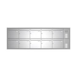 Basic | 10er Edelstahl Unterputz Briefkastenanlage BASIC 534 UP SP- mit Klingelkasten Rechts | Mailboxes | Briefkasten Manufaktur