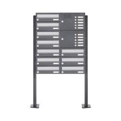 Basic | 10er Standbriefkasten Design BASIC 385P ST-T mit Klingelkasten - Edelstahl-RAL 7016 anthrazit Rechts | Mailboxes | Briefkasten Manufaktur