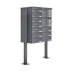Basic | 10er Standbriefkasten Design BASIC 385P ST-T mit Klingelkasten - RAL 7016 anthrazitgrau Rechts | Mailboxes | Briefkasten Manufaktur