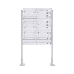 Basic | 10er Standbriefkasten Design BASIC 385P-9016 ST-T mit Klingelkasten - RAL 9016 verkehrsweiß Rechts | Mailboxes | Briefkasten Manufaktur