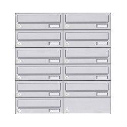 Basic | 11er 6x2 Aufputz Briefkastenanlage Design BASIC 385A AP - Edelstahl V2A, geschliffen | Mailboxes | Briefkasten Manufaktur