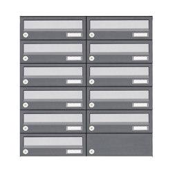 Basic | 11er 6x2 Aufputz Briefkastenanlage Design BASIC 385A AP - Edelstahl-RAL 7016 anthrazit | Mailboxes | Briefkasten Manufaktur