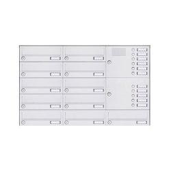 Basic | 11er Aufputz Briefkastenanlage Design BASIC 385A-9016 AP mit Klingelkasten - RAL 9016 verkehrsweiß Rechts | Mailboxes | Briefkasten Manufaktur