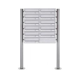 Basic | 11er Briefkastenanlage freistehend Design BASIC 385 ST-R - Edelstahl V2A, geschliffen | Mailboxes | Briefkasten Manufaktur