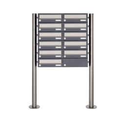 Basic | 11er Briefkastenanlage freistehend Design BASIC 385 ST-R - Edelstahl-RAL 7016 anthrazitgrau | Mailboxes | Briefkasten Manufaktur