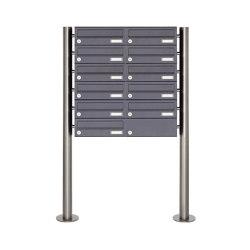 Basic | 11er Briefkastenanlage freistehend Design BASIC 385 ST-R - RAL 7016 anthrazitgrau | Mailboxes | Briefkasten Manufaktur