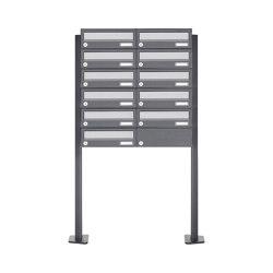 Basic | 11er Briefkastenanlage freistehend Design BASIC 385P ST-T - Edelstahl-RAL 7016 anthrazitgrau | Mailboxes | Briefkasten Manufaktur