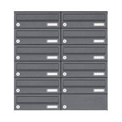Basic | 11er Edelstahl Aufputz Briefkastenanlage Design BASIC Plus 385XA AP - RAL nach Wahl | Mailboxes | Briefkasten Manufaktur