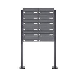 Basic | 11er Edelstahl Briefkastenanlage freistehend Design BASIC Plus 385XP ST-T - RAL nach Wahl | Mailboxes | Briefkasten Manufaktur