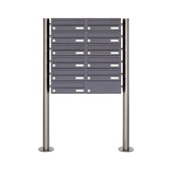 Basic | 11er Edelstahl Standbriefkasten Design BASIC Plus 385 X ST R - RAL nach Wahl | Mailboxes | Briefkasten Manufaktur