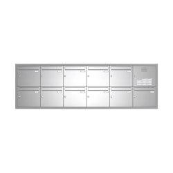Basic | 11er Edelstahl Unterputz Briefkastenanlage BASIC 534 UP SP- mit Klingelkasten Rechts | Mailboxes | Briefkasten Manufaktur