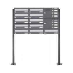 Basic | 11er Standbriefkasten Design BASIC 385P ST-T mit Klingelkasten - Edelstahl-RAL 7016 anthrazit Rechts | Mailboxes | Briefkasten Manufaktur