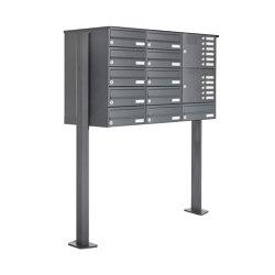 Basic | 11er Standbriefkasten Design BASIC 385P ST-T mit Klingelkasten - RAL 7016 anthrazitgrau Rechts | Mailboxes | Briefkasten Manufaktur