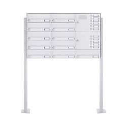 Basic | 11er Standbriefkasten Design BASIC 385P-9016 ST-T mit Klingelkasten - RAL 9016 verkehrsweiß Rechts | Mailboxes | Briefkasten Manufaktur