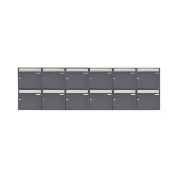 Basic | 12er 2x6 Aufputz Briefkastenanlage Design BASIC 382 AP - Edelstahl-RAL 7016 anthrazitgrau 100mm Tiefe | Mailboxes | Briefkasten Manufaktur