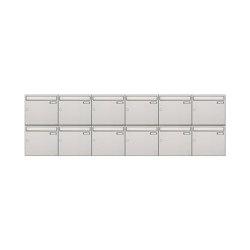 Basic | 12er 2x6 Edelstahl Aufputz Briefkastenanlage Design BASIC 382A-AP Edelstahl V2A, geschliffen 100mm Tiefe | Mailboxes | Briefkasten Manufaktur