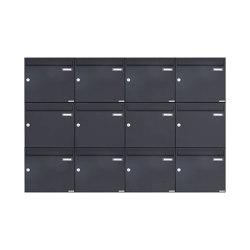 Basic | 12er 3x4 Aufputz Briefkasten Design BASIC 382A AP - RAL 7016 anthrazitgrau 100mm Tiefe | Mailboxes | Briefkasten Manufaktur