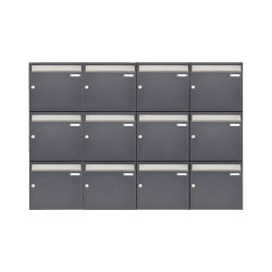 Basic | 12er 3x4 Aufputz Briefkastenanlage Design BASIC 382 AP - Edelstahl-RAL 7016 anthrazitgrau 100mm Tiefe | Mailboxes | Briefkasten Manufaktur