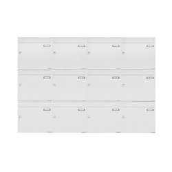 Basic | 12er 3x4 Aufputz Briefkastenanlage Design BASIC 382A AP - RAL 9016 verkehrsweiß 100mm Tiefe | Mailboxes | Briefkasten Manufaktur