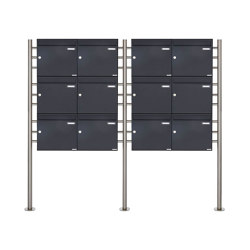 Basic | 12er 3x4 Briefkastenanlage freistehend Design BASIC 381 ST-R - RAL 7016 anthrazitgrau 100mm Tiefe | Mailboxes | Briefkasten Manufaktur