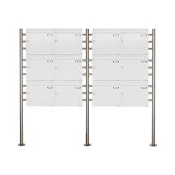 Basic | 12er 3x4 Briefkastenanlage freistehend Design BASIC 381 ST-R - RAL 9016 verkehrsweiß 100mm Tiefe | Mailboxes | Briefkasten Manufaktur
