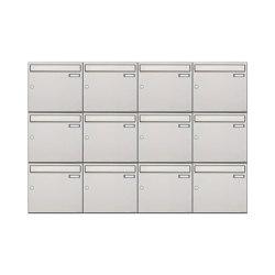 Basic | 12er 3x4 Edelstahl Aufputz Briefkastenanlage Design BASIC 382A-AP Edelstahl V2A, geschliffen 100mm Tiefe | Mailboxes | Briefkasten Manufaktur