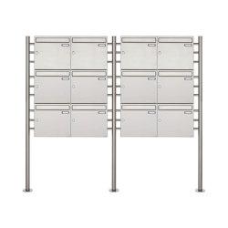 Basic | 12er 3x4 Edelstahl Standbriefkasten Design BASIC 381 ST-R Edelstahl V2A, geschliffen 100mm Tiefe | Mailboxes | Briefkasten Manufaktur