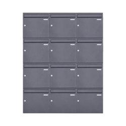 Basic | 12er 4x3 Aufputz Briefkasten Design BASIC 382A AP - DB703 eisenglimmer 100mm Tiefe | Mailboxes | Briefkasten Manufaktur