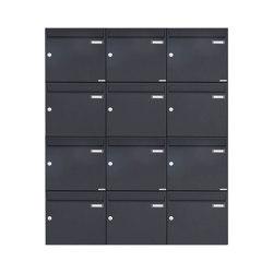 Basic | 12er 4x3 Aufputz Briefkasten Design BASIC 382A AP - RAL 7016 anthrazitgrau 100mm Tiefe | Mailboxes | Briefkasten Manufaktur