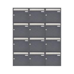 Basic | 12er 4x3 Aufputz Briefkastenanlage Design BASIC 382 AP - Edelstahl-RAL 7016 anthrazitgrau 100mm Tiefe | Mailboxes | Briefkasten Manufaktur
