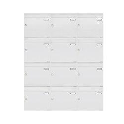 Basic | 12er 4x3 Aufputz Briefkastenanlage Design BASIC 382A AP - RAL 9016 verkehrsweiß 100mm Tiefe | Mailboxes | Briefkasten Manufaktur