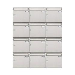 Basic | 12er 4x3 Edelstahl Aufputz Briefkastenanlage Design BASIC 382A-AP Edelstahl V2A, geschliffen 100mm Tiefe | Mailboxes | Briefkasten Manufaktur
