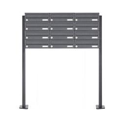 Basic | 12er 4x3 Edelstahl Briefkastenanlage freistehend Design BASIC Plus 385XP ST-T - RAL nach Wahl | Mailboxes | Briefkasten Manufaktur