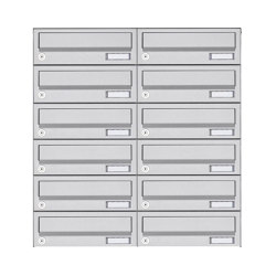 Basic | 12er 6x2 Aufputz Briefkastenanlage Design BASIC 385A AP - Edelstahl V2A, geschliffen | Mailboxes | Briefkasten Manufaktur