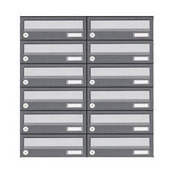 Basic | 12er 6x2 Aufputz Briefkastenanlage Design BASIC 385A AP - Edelstahl-RAL 7016 anthrazit | Mailboxes | Briefkasten Manufaktur