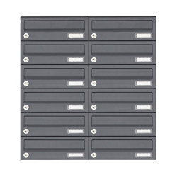Basic | 12er 6x2 Aufputz Briefkastenanlage Design BASIC 385A AP - RAL 7016 anthrazitgrau | Mailboxes | Briefkasten Manufaktur