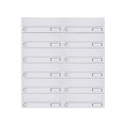 Basic | 12er 6x2 Aufputz Briefkastenanlage Design BASIC 385A-9016 AP - RAL 9016 verkehrsweiß | Mailboxes | Briefkasten Manufaktur