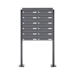 Basic | 12er 6x2 Edelstahl Briefkastenanlage freistehend Design BASIC Plus 385XP ST-T - RAL nach Wahl | Mailboxes | Briefkasten Manufaktur