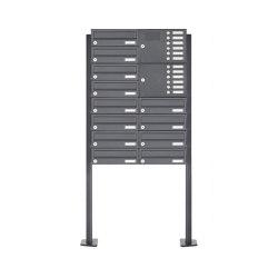 Basic | 12er 8x2 Standbriefkasten Design BASIC 385P-7016-SP mit Klingelkasten - RAL 7016 anthrazitgrau Rechts | Mailboxes | Briefkasten Manufaktur