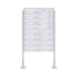 Basic | 12er 8x2 Standbriefkasten Design BASIC 385P-9016 ST-T mit Klingelkasten - RAL 9016 verkehrsweiß Rechts | Mailboxes | Briefkasten Manufaktur