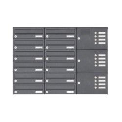 Basic | 12er Aufputz Briefkastenanlage Design BASIC 385A-7016 AP mit Klingelkasten - RAL 7016 anthrazitgrau Rechts | Mailboxes | Briefkasten Manufaktur