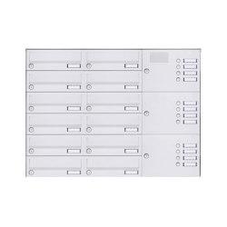 Basic | 12er Aufputz Briefkastenanlage Design BASIC 385A-9016 AP mit Klingelkasten - RAL 9016 verkehrsweiß Rechts | Mailboxes | Briefkasten Manufaktur