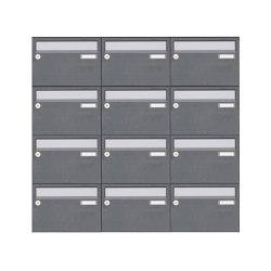 Basic | 12er Aufputz Briefkastenanlage Design BASIC Plus 385 XA 220 - Edelstahl - RAL nach Wahl | Mailboxes | Briefkasten Manufaktur