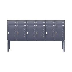 Basic | 12er Briefkastenanlage freistehend BASIC 863 ST-Q mit 6x Paketfach -12x Briefkasten in RAL 7016 | Mailboxes | Briefkasten Manufaktur