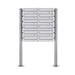 Basic | 12er Briefkastenanlage freistehend Design BASIC 385 ST-R - Edelstahl V2A, geschliffen | Mailboxes | Briefkasten Manufaktur