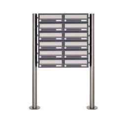 Basic | 12er Briefkastenanlage freistehend Design BASIC 385 ST-R - Edelstahl-RAL 7016 anthrazitgrau | Mailboxes | Briefkasten Manufaktur